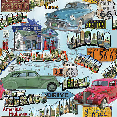 Route 66-jp3938 Poster by Jean Plout