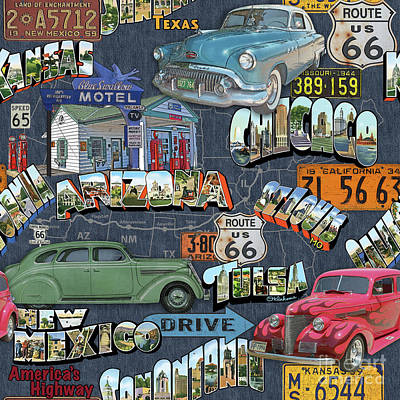 Route 66-jp3940 Poster by Jean Plout