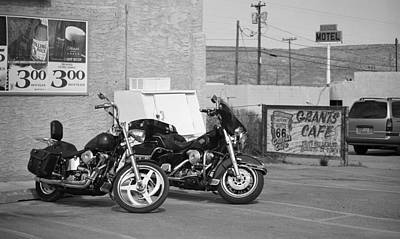 Route 66 Motorcycles Bw Poster by Frank Romeo