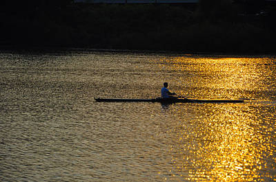 Rowing At Sunset Poster by Bill Cannon