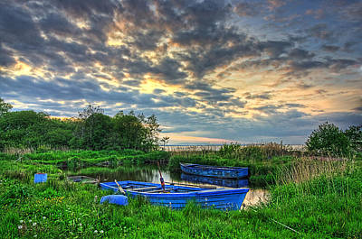 Rowing Boats At Day Poster by Kim Shatwell-Irishphotographer