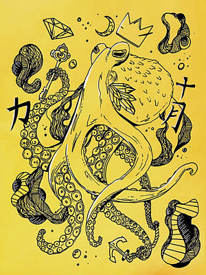 Royal Octopus Canary Yellow Poster by Kenal Louis