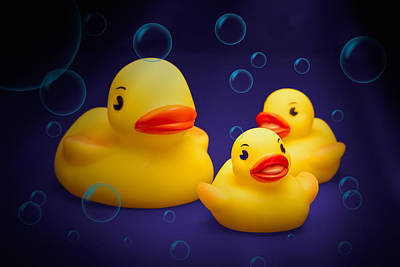 Rubber Duckies Poster by Tom Mc Nemar