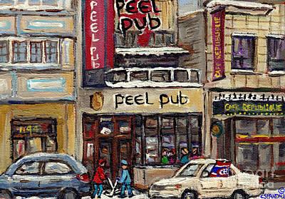 Rue Peel Montreal Winter Street Scene Paintings Peel Pub Cafe Republique Hockey Scenes Canadian Art Poster by Carole Spandau