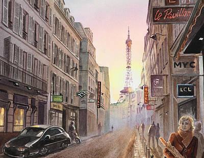 Rue Saint Dominique Paris France View On Eiffel Tower Sunset Poster by Irina Sztukowski