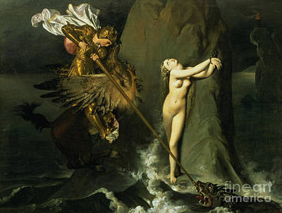 Ruggiero Rescuing Angelica Poster by Ingres