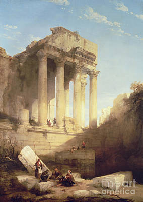 Ruins Of The Temple Of Bacchus Poster by David Roberts