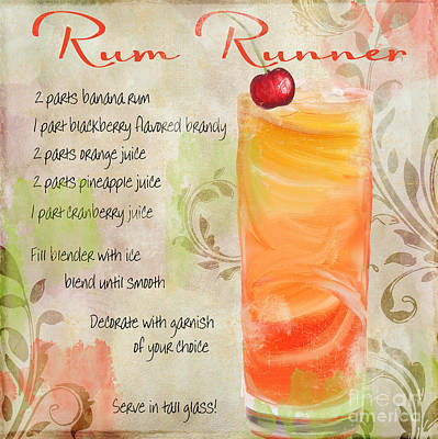 Rum Runner Mixed Cocktail Recipe Sign Poster by Mindy Sommers