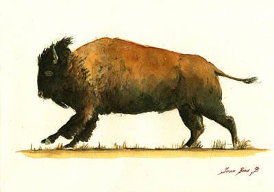 Running American Buffalo Poster by Juan  Bosco