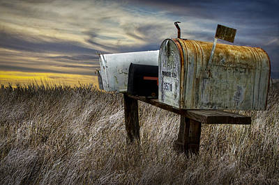 Rural Mailboxes On The Prairie Poster by Randall Nyhof