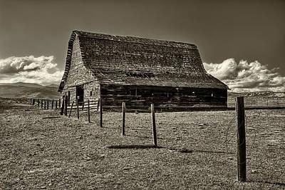 Rural Montana Barn In Sepia Poster by Mark Kiver