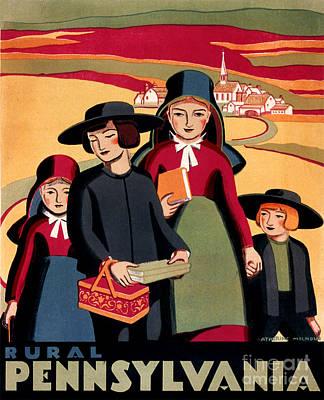 Rural Pennsylvania 1938, Amish Children On A Way To School Poster by Zalman Latzkovich