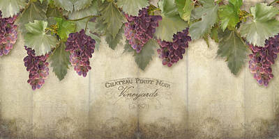 Rustic Vineyard - Pinot Noir Grapes Poster by Audrey Jeanne Roberts