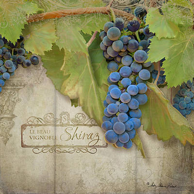 Rustic Vineyard - Shiraz Wine Grapes Over Stone Poster by Audrey Jeanne Roberts