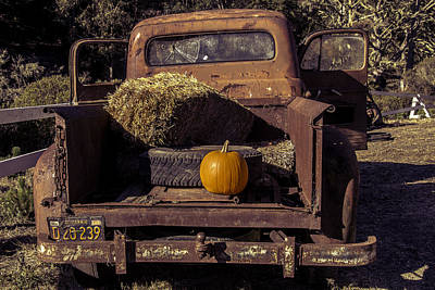 Rusty Truck With Pumpkin Poster by Garry Gay