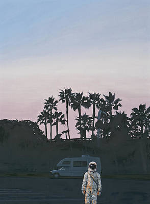Dusk Poster featuring the painting Rv Dusk by Scott Listfield