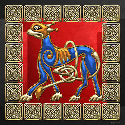 Sacred Celtic Lion On Red And Black Poster by Serge Averbukh