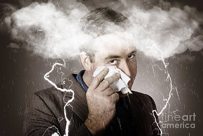 Sad And Unhappy Businessman Crying A Head Storm Poster by Jorgo Photography - Wall Art Gallery