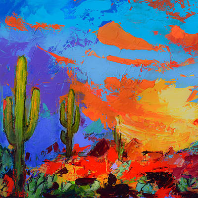 Saguaros Land Sunset By Elise Palmigiani - Square Version Poster by Elise Palmigiani