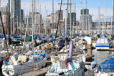 Sail Boats At San Francisco China Basin Pier 42 With The San Francisco Skyline . 7d7675 Poster by Wingsdomain Art and Photography