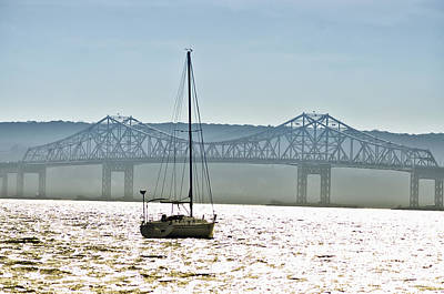 Sailboat And The Tappan Zee Bridge Poster by Bill Cannon