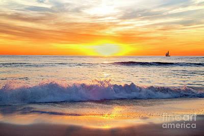 Sailboat Gliding  By Marine Street Beach, La Jolla, California Poster by Julia Hiebaum