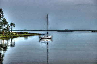 Sailboat Off Plash Poster by Michael Thomas