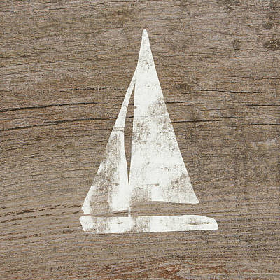 Sailboat On Wood- Art By Linda Woods Poster by Linda Woods
