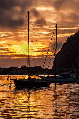 Sailboat Sunset At Morro Bay Poster by Jan and Burt Williams