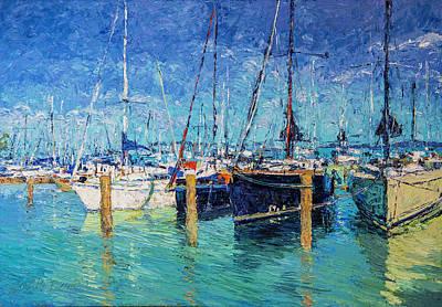 Sailboats At Balatonfured Poster by Judith Barath