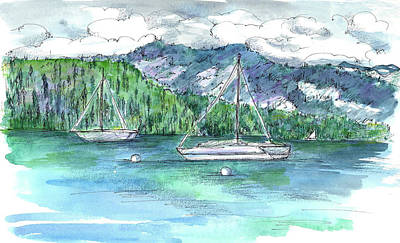 Sailing Lake Tahoe Poster by Cathie Richardson