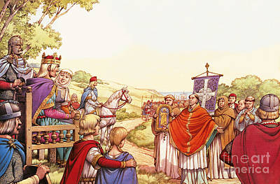 Saint Augustine Arriving In England Poster by Pat Nicolle