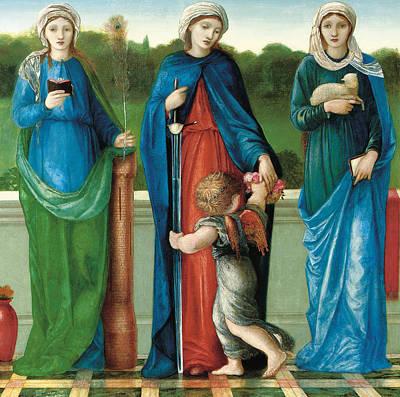 Saint Barbara And Saint Dorothy With Saint Agnes Poster by Sir Edward Coley Burne-Jones