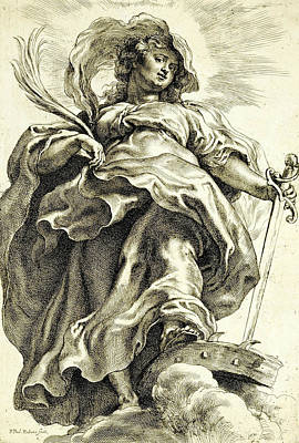 Saint Catherine In The Clouds Poster by Peter Paul Rubens