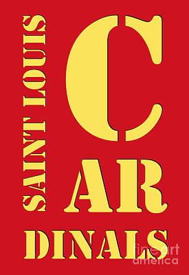 Saint Louis Cardinals Typography Red Poster by Pablo Franchi