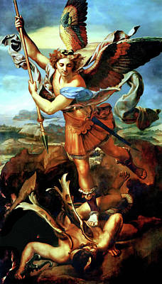 Saint Michael Overthrowing The Demon  Poster by Raphael