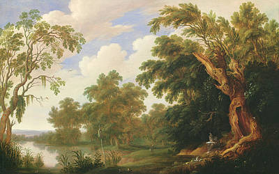 Saint Paul Visiting Saint Anthony In A Wooded Landscape Poster by Alexander Keirincx