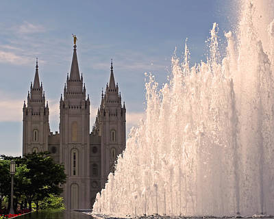 Salt Lake Temple And Fountain Poster by Rona Black
