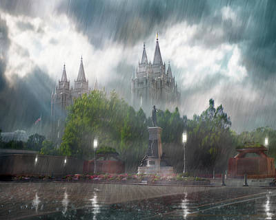 Salt Lake Temple - Refuge From The Storm Poster by Brent Borup