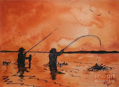 Saltwater Wade Fishing Poster by Don Hand