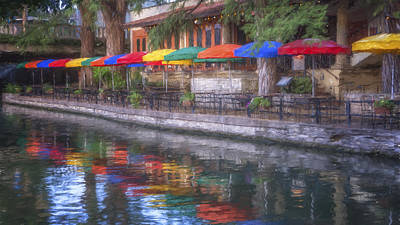 San Antonio Riverwalk Colors Poster by Joan Carroll