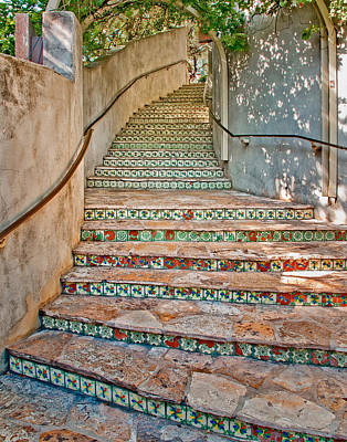 San Antonio Riverwalk Stairway Poster by David and Carol Kelly