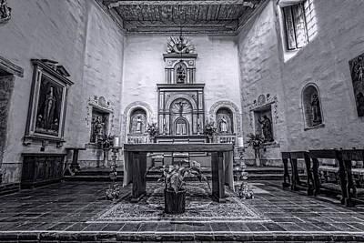 San Diego De Alcala Altar - Bw Poster by Stephen Stookey
