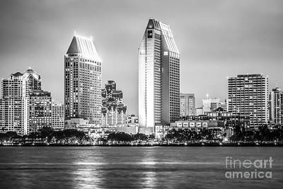 San Diego Skyline Black And White Picture Poster by Paul Velgos