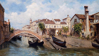 San Trovaso Boatyard In Venice Poster by Michele Gordigiani