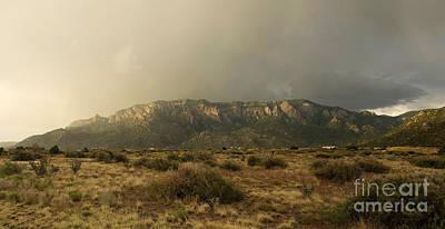 Sandia Mountains In Evening Storm Poster by Matt Tilghman