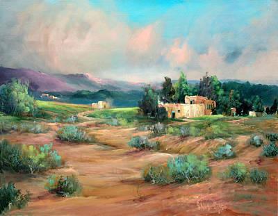 Santa Fe Pueblo Poster by Sally Seago