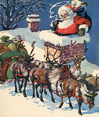 Santa Going Down A Chimney On Christmas Eve Poster by American School