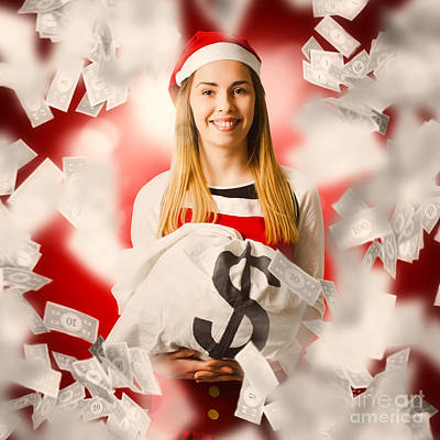 Santa Woman Celebrating A Money Bag Win Poster by Jorgo Photography - Wall Art Gallery