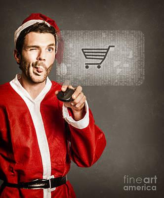 Santas Little Helper Shopping Online Poster by Jorgo Photography - Wall Art Gallery